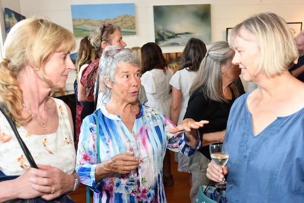 Guests discuss the artworks with artist Jane Galloway (right). Image Stuart Mackenzie