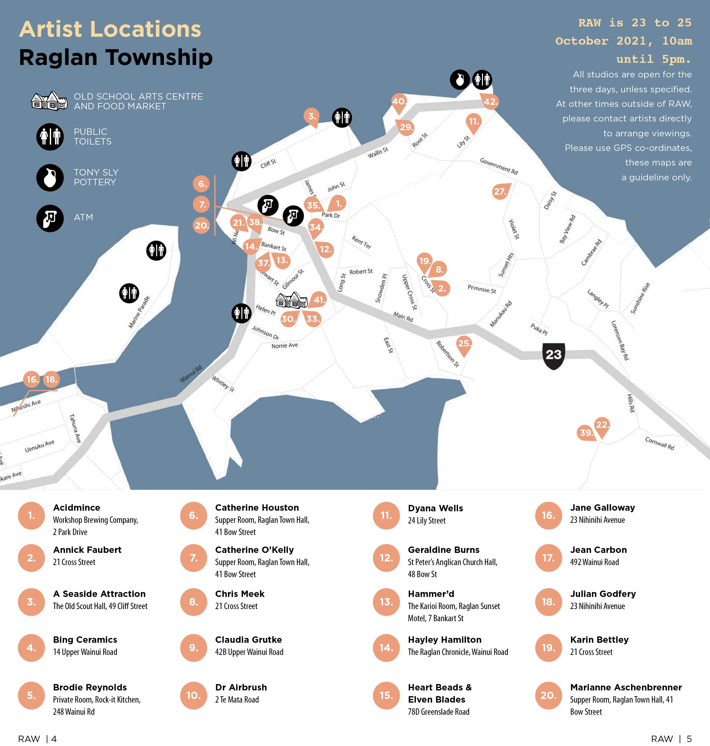 Artist locations - Raglan Township